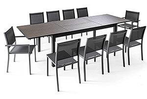 Table de jardin aluminium avec rallonge en solde