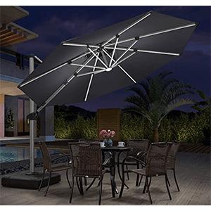 Parasol déporté 4x4 LED